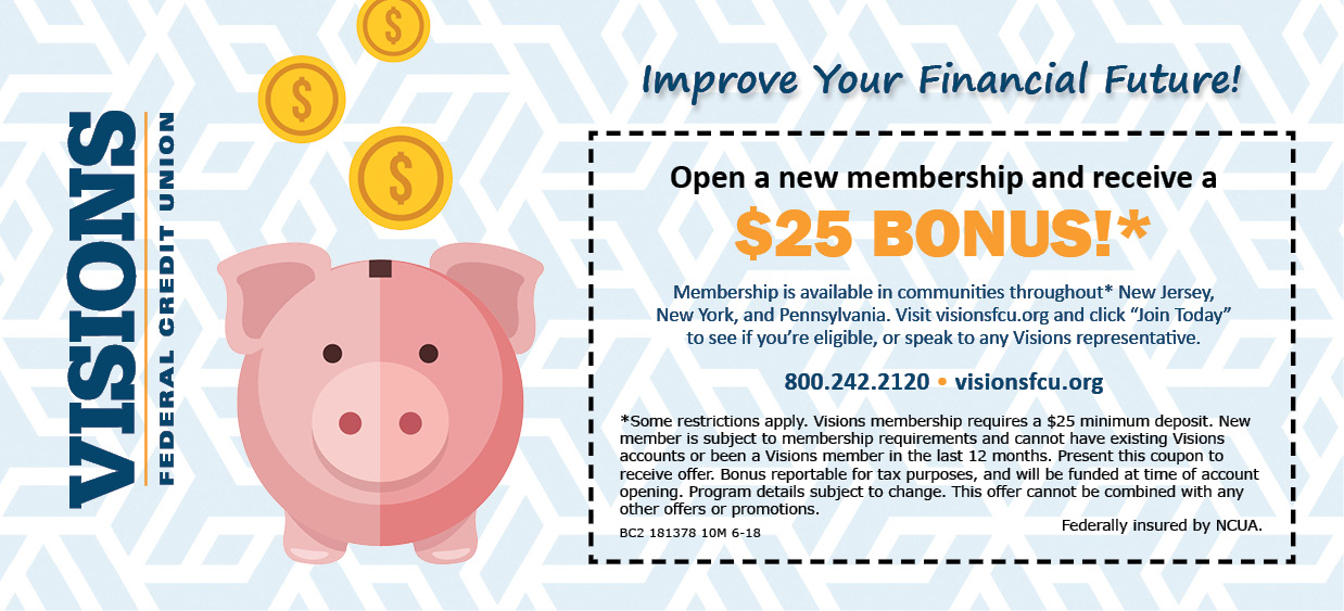 Visions Federal Credit Union New Membership Coupon