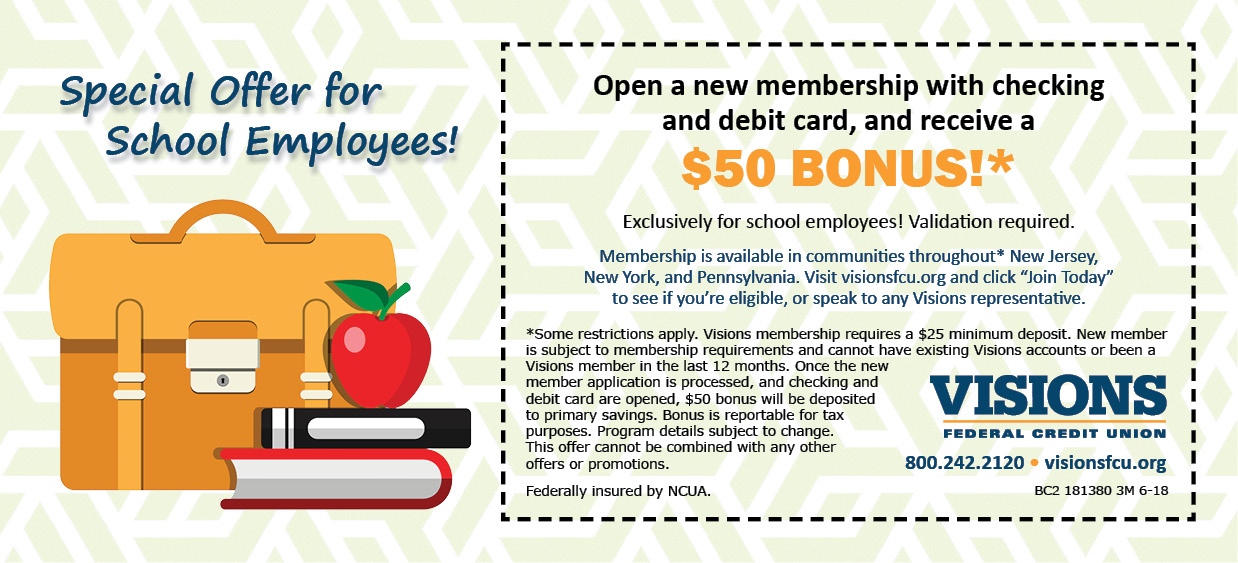 Visions Federal Credit Union School Employees Coupon